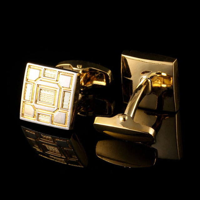 Cufflinks Men's Business Banquet Wedding Daily Leisure Suit Accessories Gifts Gold Square Pattern French Shirt Cuff Links Trendy 2