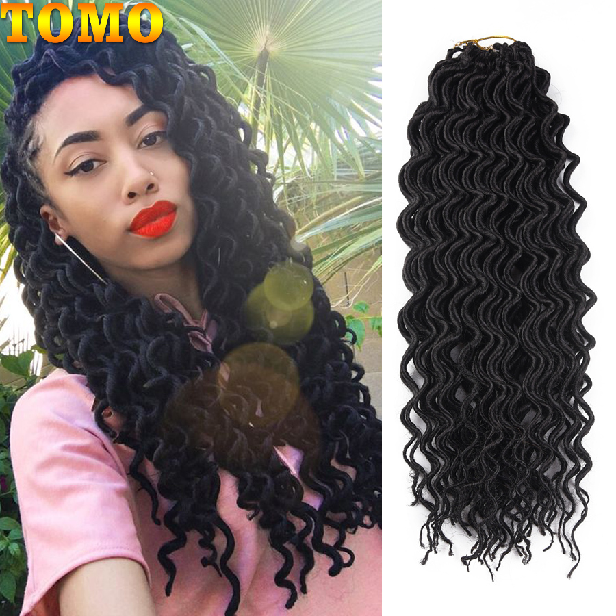 TOMO 24 Roots Faux Locs Crochet Hair 18Inch Ombre Synthetic Dreadlocks Hair Extensions For Women Curly Crochet Braids Black Red