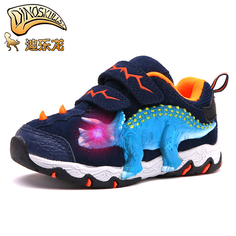 DINOSKULLS 3-10 Boys Autumn Shoes Dinosaur LED Glowing Sneakers 2020 Children's Sports Shoes 3D T-rex Kids Genuine Leather Shoes 3