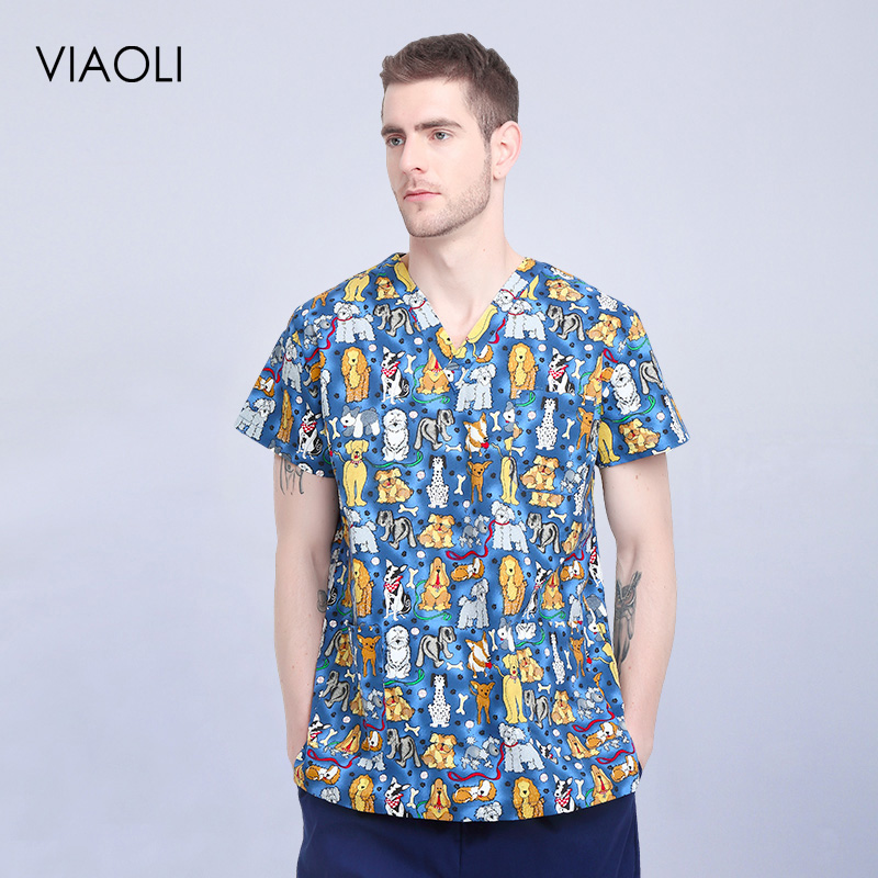 2019 Summer Scrub Tops New Fashion V-neck Men's Beauty Salon Dental Clinic Work Clothes Suit Doctor Nurse Uniform Blue Dog