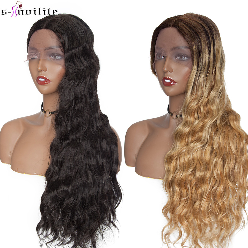SNOILITE 28'' Long Wavy U Part Lace Front Wig Synthetic Glueless Ombre Black Brown Hair Wigs For Women Afro Middle Part Wig