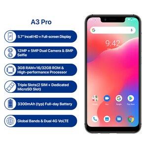 """Image 2 - UMIDIGI A3 Pro العالمي الفرقة أندرويد 9.0 5.7 """"19:9 كامل الشاشة الهاتف المحمول 3GB + 32GB 12MP + 5MP الوجه فتح المزدوج 4G الهاتف الذكي"""
