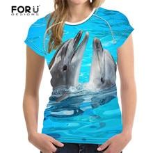 FORUDESIGNS 2017 Brand Women T Shirt 3D Dolphin Shark Prints Woman Crop Tops Tees Shirts Novelty Female Feminine T-shirt