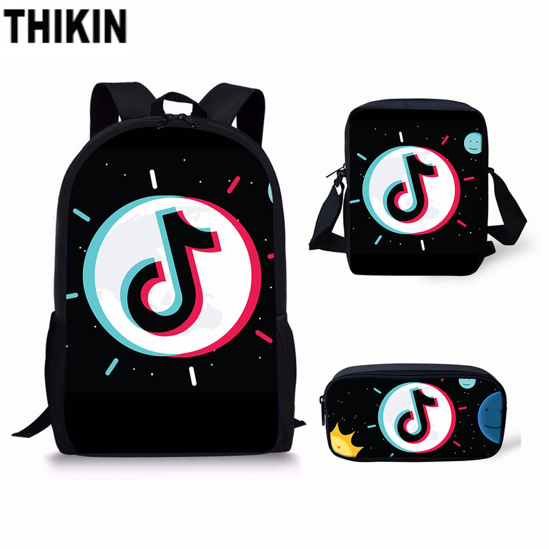 THIKIN School-Backpack Logo Teenage Custom Tik Tok Funny Girls Fashion Children Student