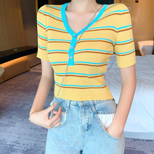 Women Striped Short Sleeve V-neck Knitted T-Shirts Cropped Thin Hollow Out Buttons Cropped