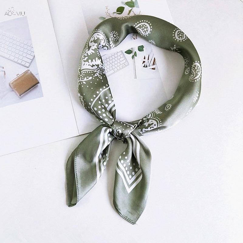 AOMU 2019 New Fashion Hip Hop Cotton Bandana Square Scarf 70*70cm Green Black Paisley Headband Printed For Women/Men/Boys/Girls