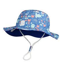 Панама ведро для мальчиков летняя пляжная дышащая синяя хлопковая
