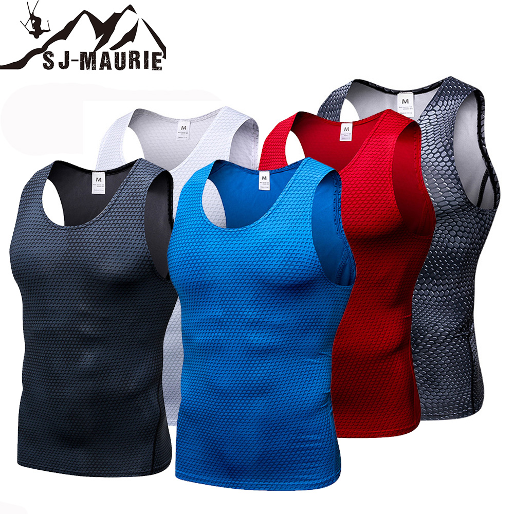 Sj-Maurie Top T-Shirt Compression-Tights Running-Vest Sports Sleeveless Gym-Clothing