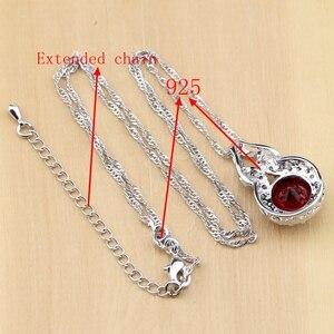 Image 5 - Doğal 925 gümüş takı kırmızı zirkon beyaz CZ tılsım küpe kolye kolye yüzük bilezik takı setleri kadınlar için