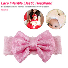 2019 New Cute Lace Headband For Girls Big Sequin Hair Bow Solid Turban Elastic Headbands Kids Glitter Large Accessories