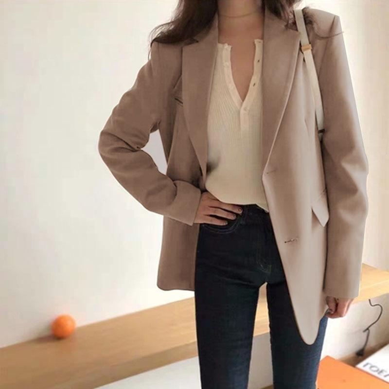 ZANZEA Office Ladies Blazer Women Long Sleeve Loose Suit Coat Fashion Single-breasted  Women Blazers Female Lapel Neck Jackets
