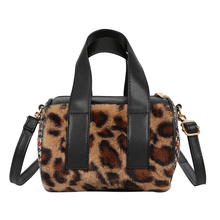 Autumn and winter new plush handbag soft fashion leopard Boston shoulder bag multicolor casual hot free shipping