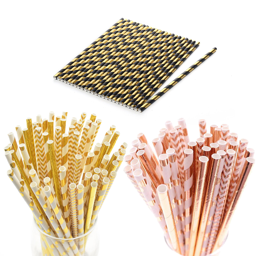 Mixed Bronzing Paper Straw Party Drink Straws Disposable Tableware Wedding Birthday Party Deco Kids Christmas New Year Supplies