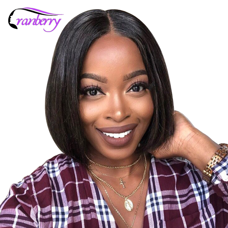 Cranberry Hair Straight Hair 13x4 Lace Front Wig Brazilian Hair Bob Lace Front Wigs  Remy Hair Short Human Hair Wigs 8-16 Inch