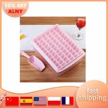 33/44/55/66 Grids Food Grade Silicone Ice Tray with Lid Shovel Ice Cube Mold Maker DIY Creative Square Shape Kitchen Accessories