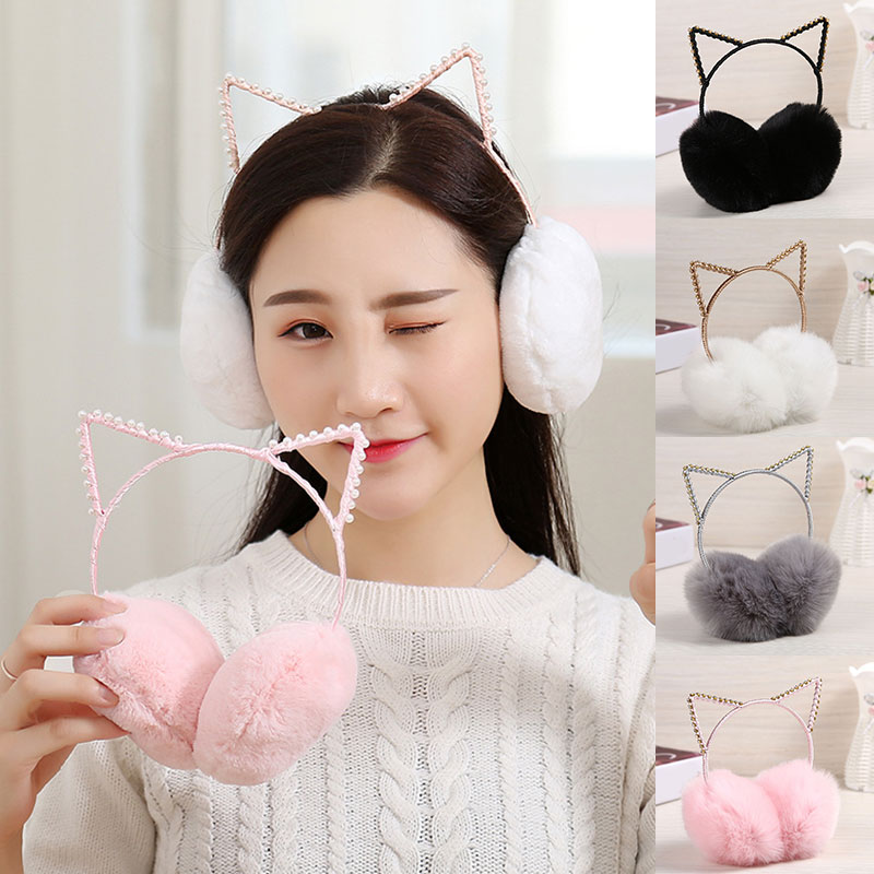 Winter Lovely Rhinestone Cat Ear Headband Faux Fur Earmuffs For Girls Fashion Women Comfortable Earmuffs Accessories Gifts