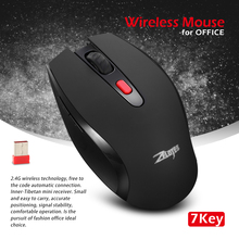 ZELOTES Wireless Mouse USB Gaming Mouse Computer Game Mice 6 Button 7 Key Office Game Computer For Laptop Mice PC cheap 2 4Ghz Wireless Opto-electronic Finger Battery 2400 Right