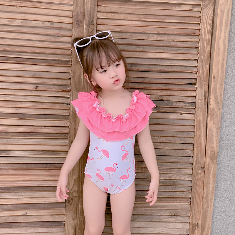 Children One-piece Swimwear Cute Small Yellow Duck Multilayer Flounced GIRL'S Swimsuit Hot Selling Triangular Small Children GIR