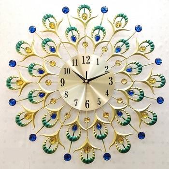 17'' Exotic Iron Art Feathers Wall Clock Decorative Metal Home Background Clock Sitting Room Bird Plumage Handcraft Artware