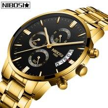 Nibosi relogio masculino marca de luxo dos homens relógios de moda à prova dauto água automático data relógio de quartzo