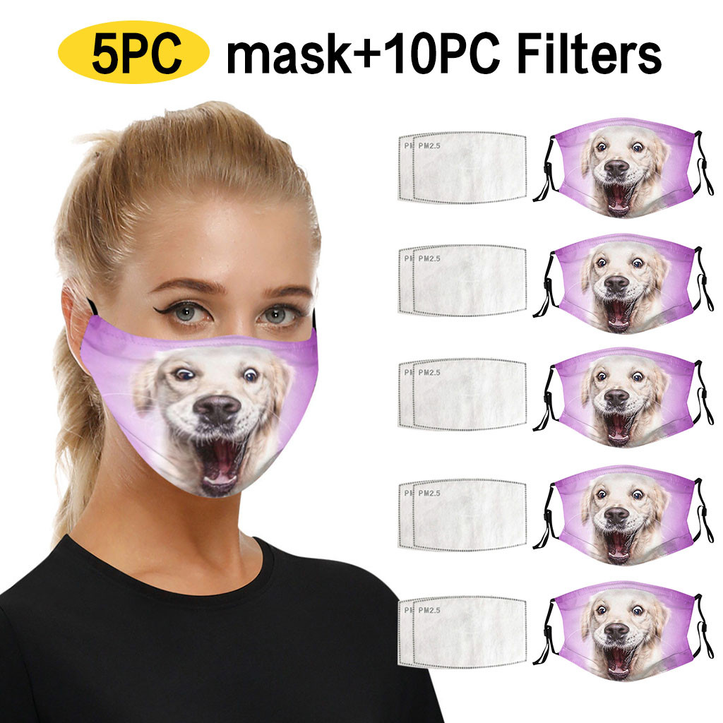 Reusable Washable Face Bandana Breathable for Cycling Fishing Outdoors 3pc Funny Face Macks Cover With Dogs Printed
