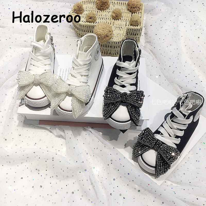 New Autumn Kids Casual Sneakers Baby Girls Bow Canvas Shoes Children Rhinestone Sneakers Toddler Brand High Sneakers Trainers