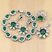 Rahat 925 ayar gümüş takı yeşil kübik zirkonya beyaz CZ takı setleri kadınlar küpe/kolye/kolye/yüzük/Bilezik