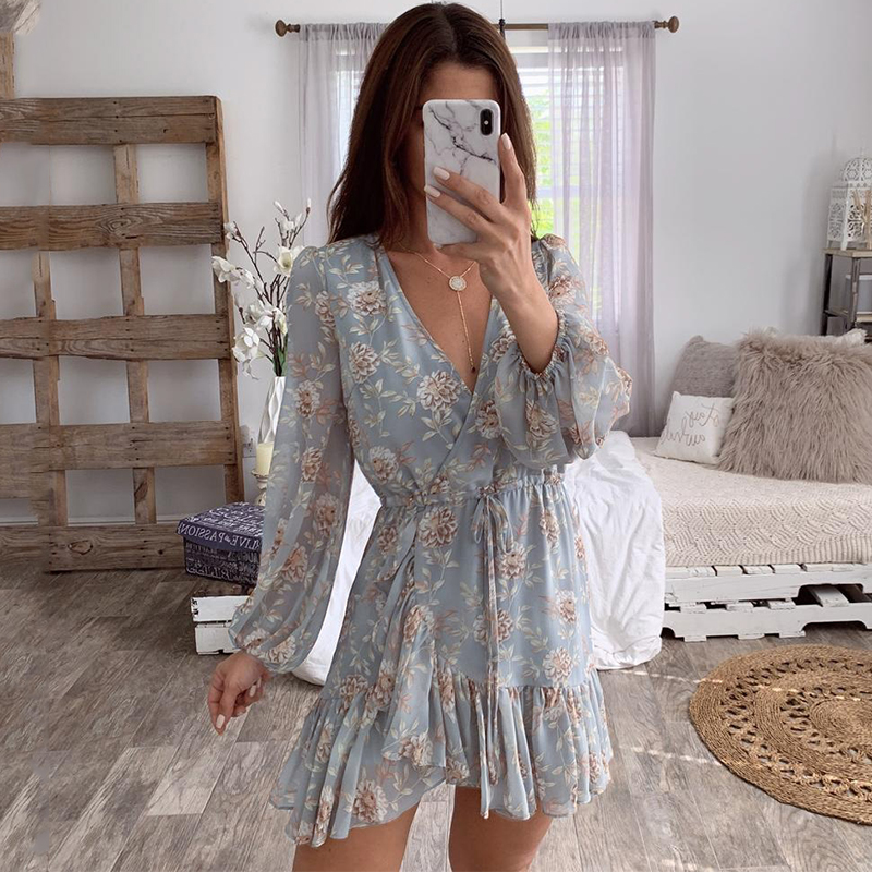 Affogato Sexy v-neck Floral print women summer dress Elegant Ruffle Long sleeve hollow out dress wrap casual beach holiday dress