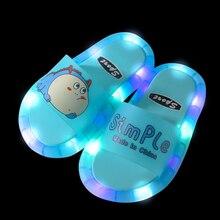 2021 Children Slippers Footwear Luminous Jelly Summer Kids LED Boys Slippers PVC Non-slip  Beach Sandals Toddler Girl Shoes Pink