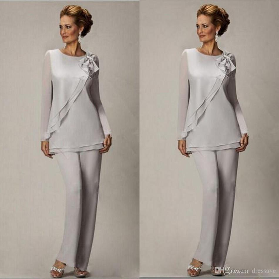 Elegant 2019 Plus Size Silver Pants Suit For Mother Of The Bride Groom Beaded Chiffon Wedding Party Evening Gowns