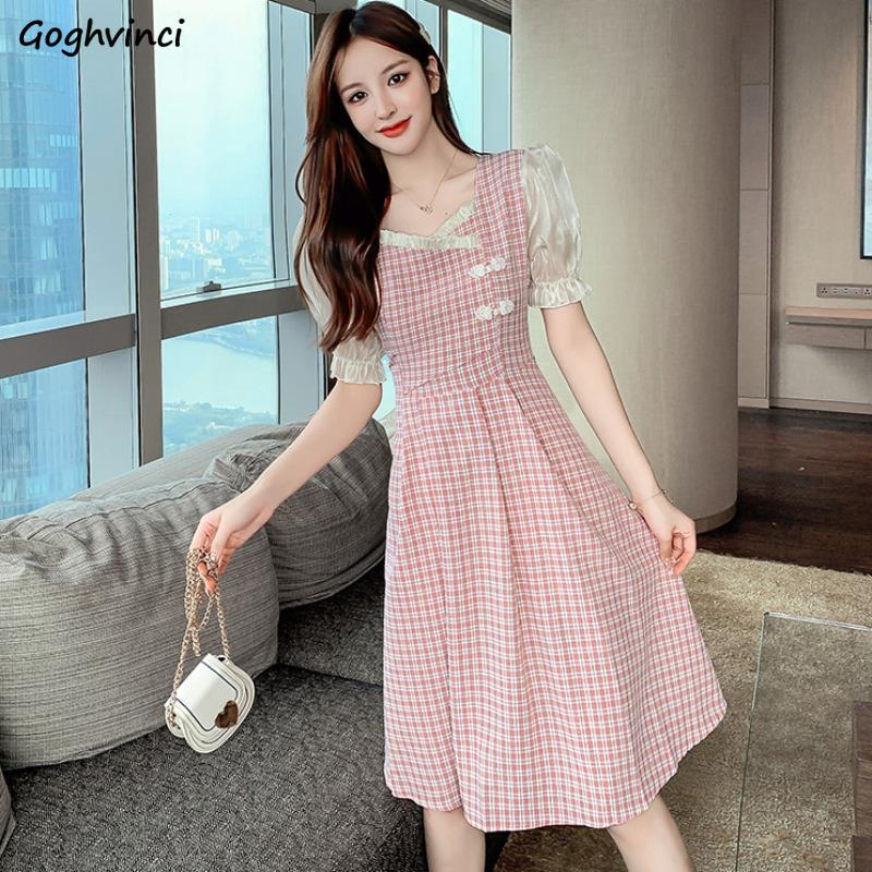 Dresses Women Plaid Ruffles Puff Short Sleeves Pleated High Waist Slim Chinese Style Sweet Elegant Streetwear Simple Girl Trendy
