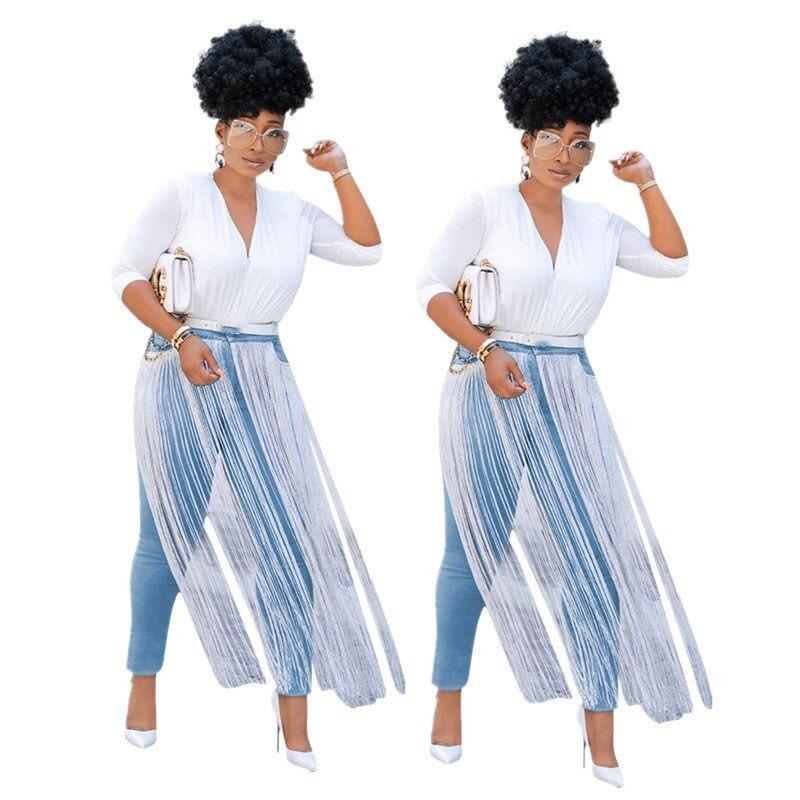 Fall 2019 Long Tassel Skinny   Jeans   Woman Plus Size Streetwear High Waist   Jeans   Denim Pants Pencil Pants Women Pencil   Jeans