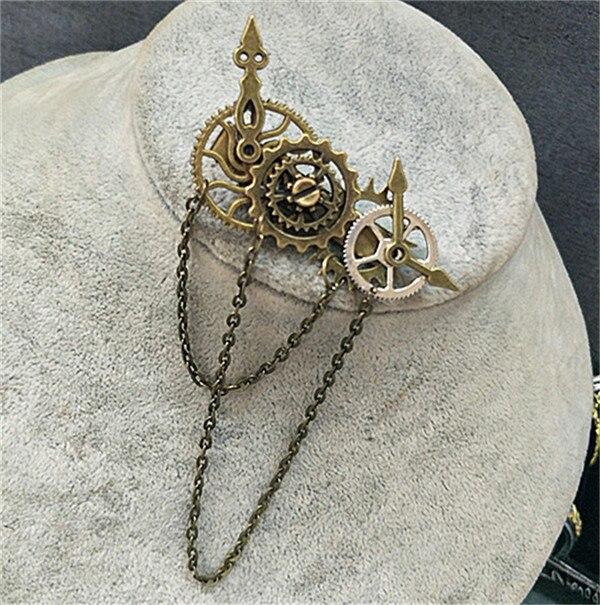 Унисекс Симпатичные Лолита шестерни крылья заколки с орнаментом заколки для волос часы цепи стимпанк готический женский головной убор винтажные аксессуары - Цвет: B