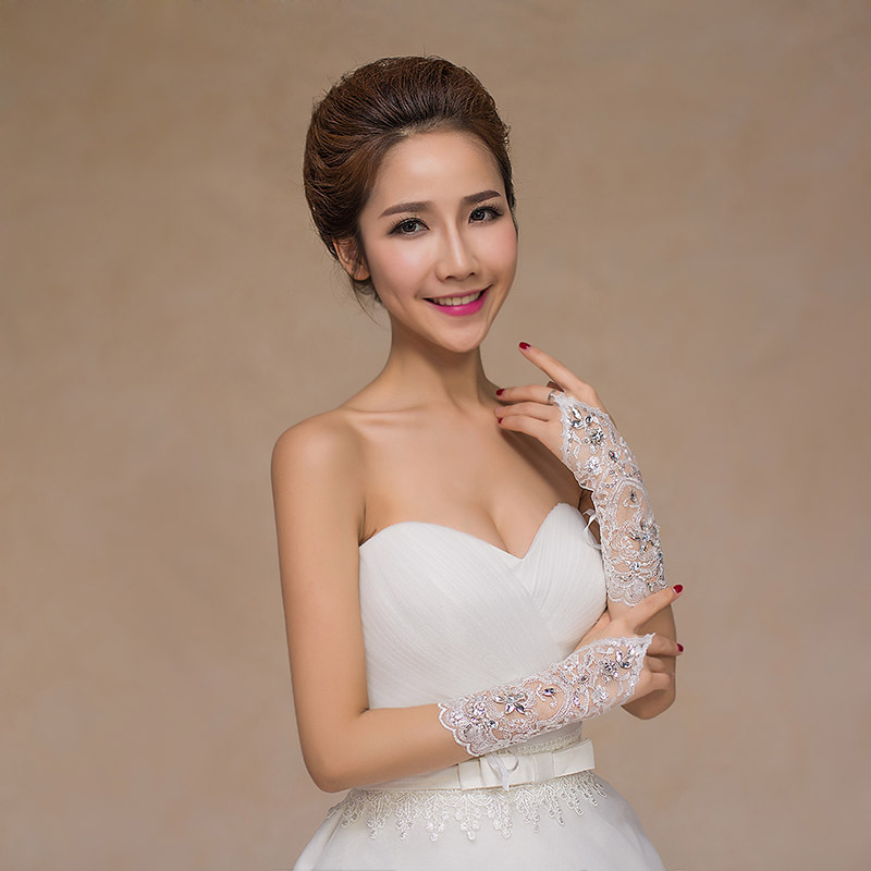 Wedding Gloves Fingerless Long Summer New Style Lace Korean Style White Bride Marriage Warm Formal Dress Gloves
