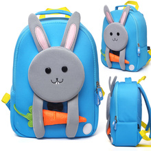 Cute 3D Rabbit School Bags for Kids Lovely Animals Design Boys Girls School Backpacks Waterproof Children Bags Mochila Infantil 3d cute big size animal design backpacks kids school bags for primary girls boys cartoon shaped children school backpacks