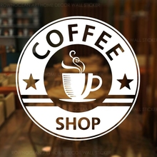 Coffee Shop Vinyl Sticker Cup Pattern Sign For Cafe Window Glass Decoration Removable Business Z353