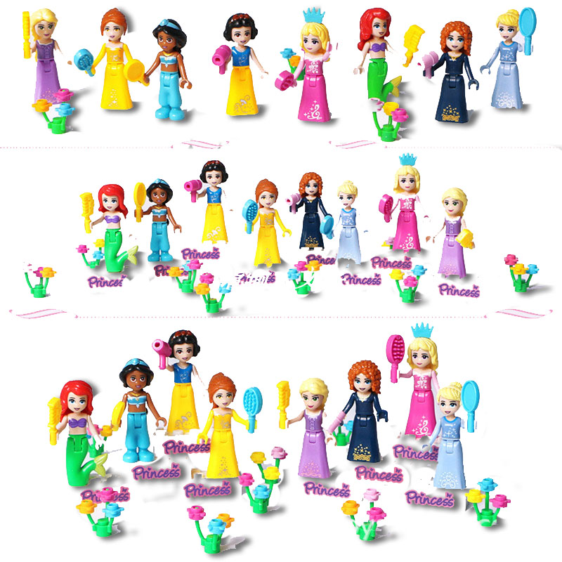 8PCS/SET Kids Favorite Girls Happy Princess Series City Girls Scooter Compatible Blocks Legoinglys Friends For Girl Toys