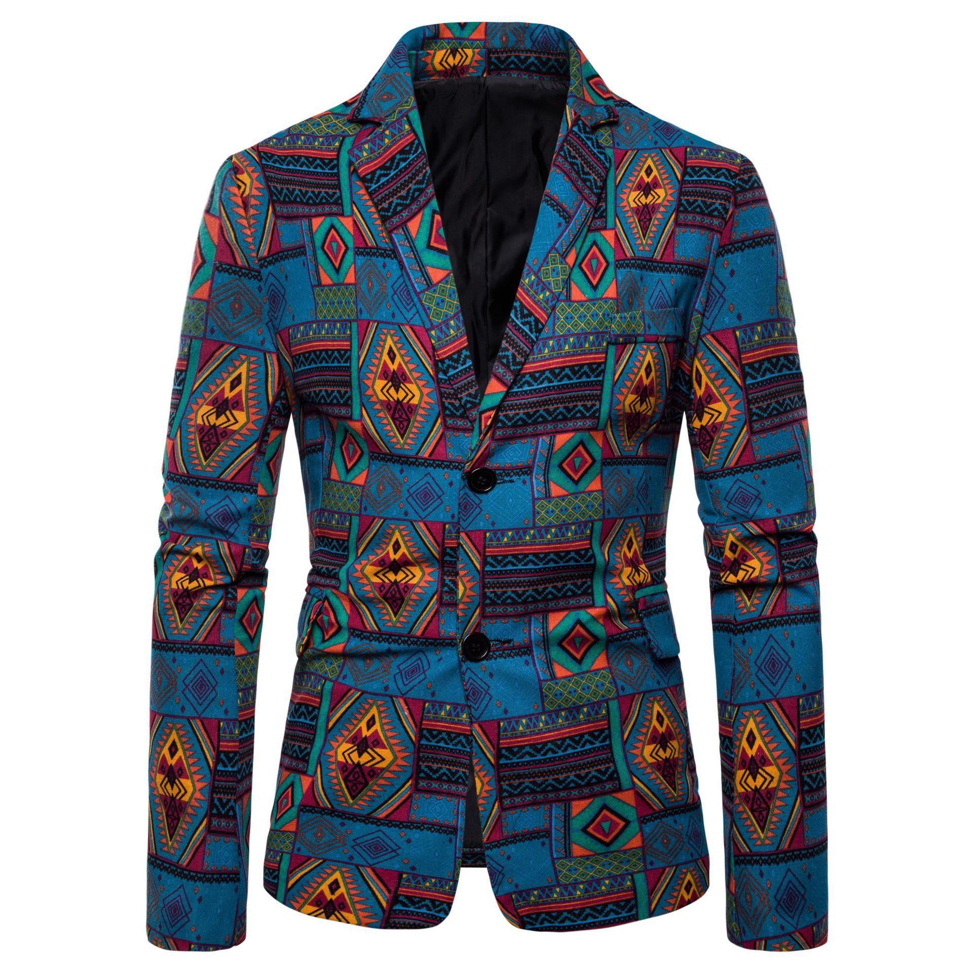 Oeak Men Fashion Casual Suit Jackets Ethnic Printed Autumn Winter Blazers Jackets Coats Oversize 4XL Men Floral Printed Outwear