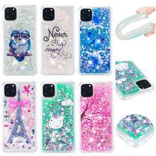 Phone Case sFor iPhone 11 Pro Max Cute Glitter Liquid Transparent Soft Silicone TPU Cover For 11Pro Capa