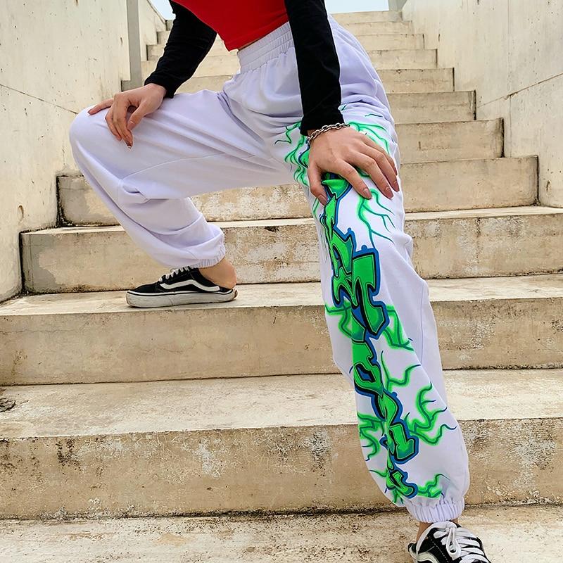 HEYounGIRL White Casual Print Sweatpants Women Fashion Autumn Warm Ladies Trousers Elastic High Waist Harem Pants Capis Pockets 1