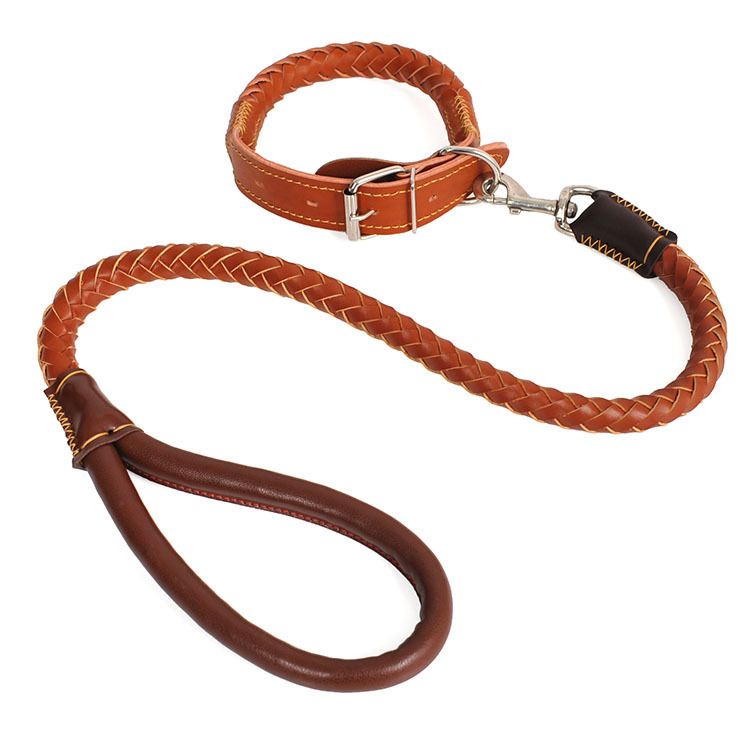 Imitation Leather Pet Traction Medium Large Dog Dog Rope Two-Stage Model Pippi Weaving Traction Belt