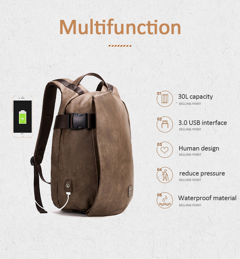 H64ffa001a4eb429d8730cf39cbae21992 - DIDE Male Backpack USB Charge Waterproof 15.6 inch Laptop Backpack Leather Travel Casual Vintage School Bag For Men Black