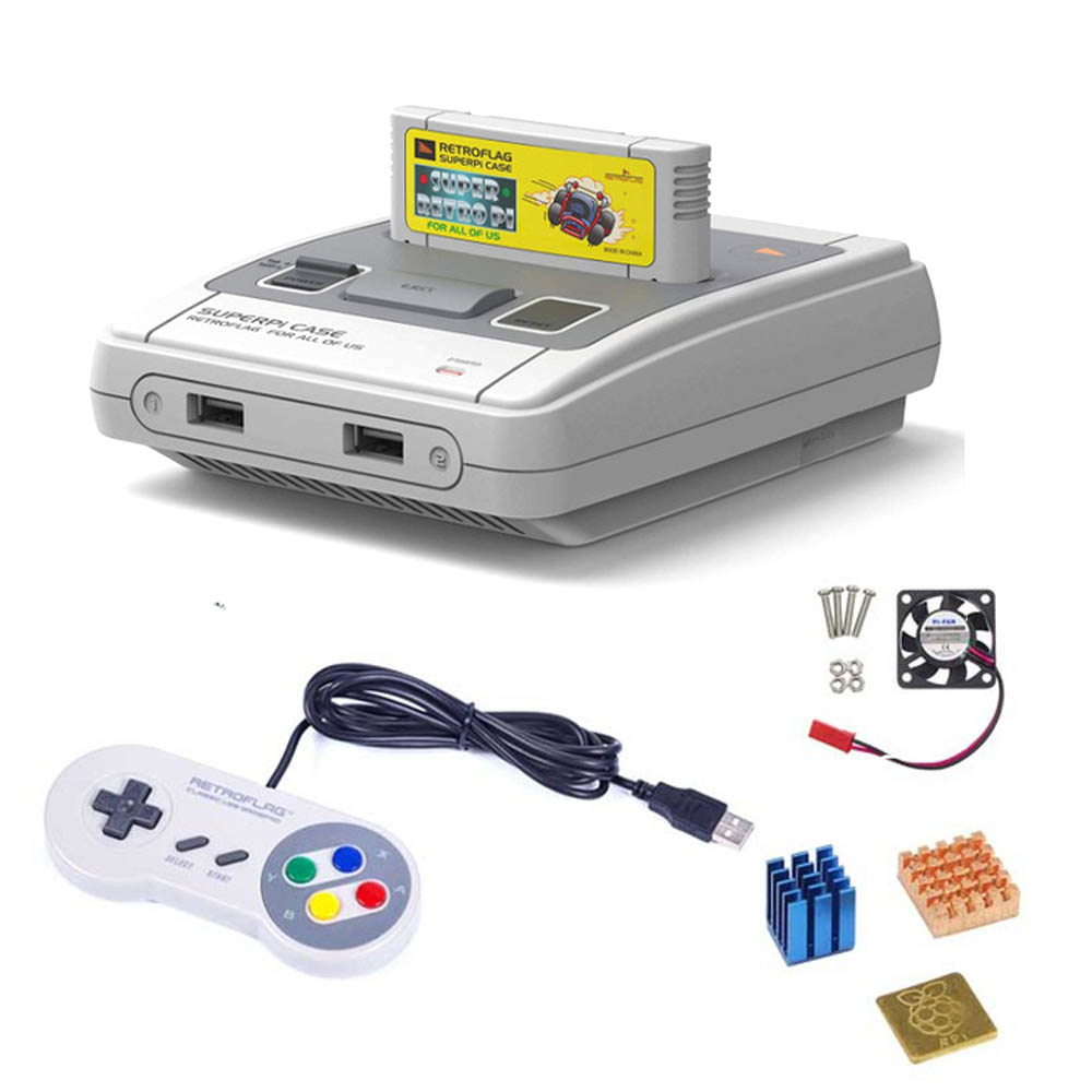 Retroflag SUPERPi CASE-J NESPi Case With Game Controller+coolling Fan+heatsink For Raspberry Pi 3B Plus (3B+)/3B