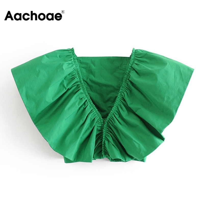 2020 Sexy Deep V Neck Ruffle Blouse Women Fashion Sleeveless Green Crop Top Blouses Ladies Vintage Solid Color Shirt Blusas
