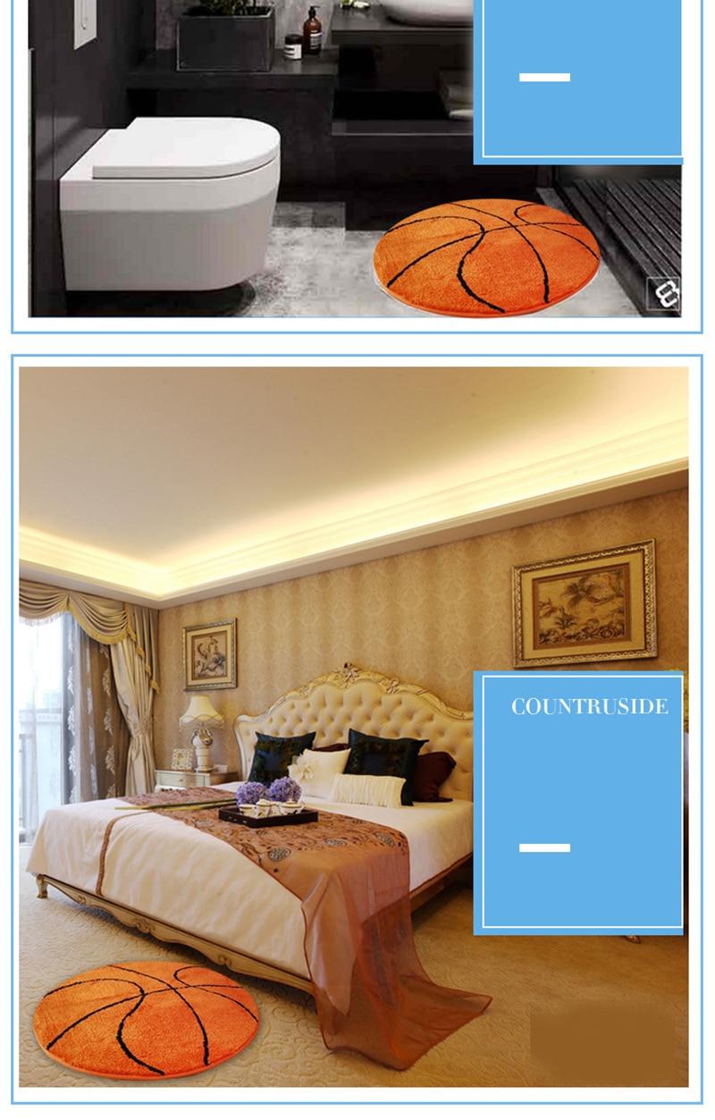 Rug Children Bedroom Rugs 3d Polyester Anti Slip Ball Round Fluffy Carpet Pad Football Basketball Living Room Mat White Carpet Texture Mohawk Carpet