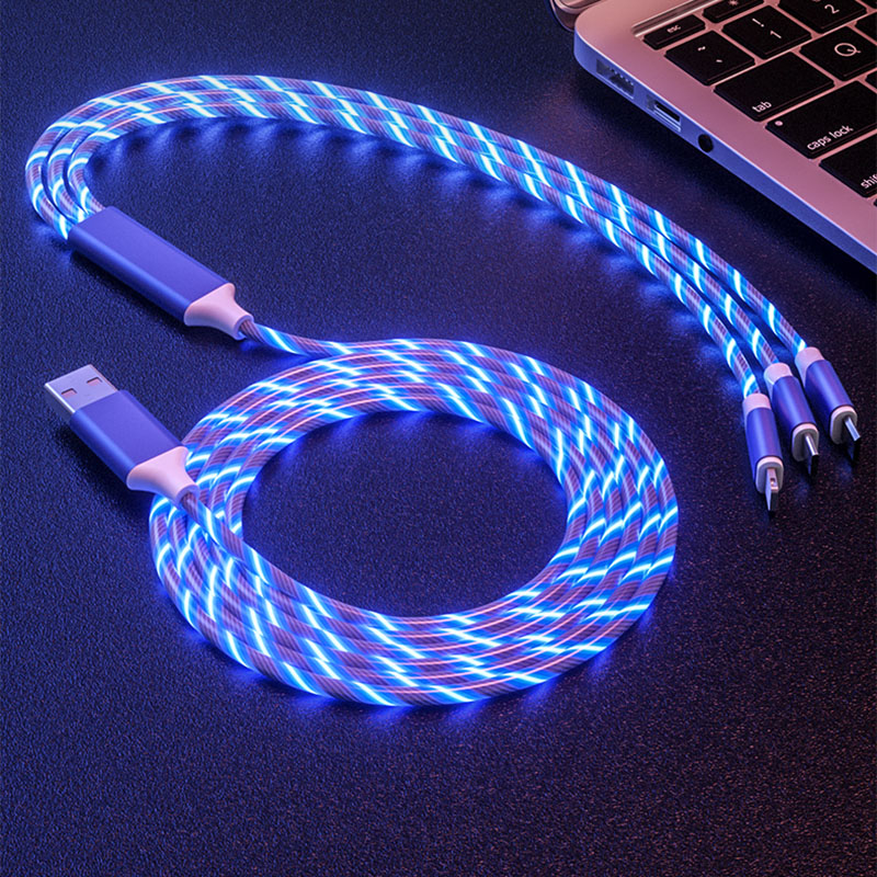 1.2M 3 in 1 USB Charger Cable for Mobile Phone Micro Type C Charge iPhone Charging Glow LED Flowing Data Cord