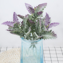 10pcs Artificial Plants New Flocking Silver Leaf 9 Pcs Leaves Wedding Flower Materials Fake Flowers Home Decoration Accessories