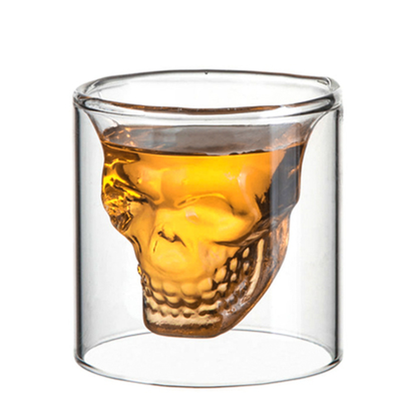 Double Layer Skull Head Wine Glass Mug for Shot Latte Coffee Whiskey Vodka Cocktail Milk Drinking Bar Club Heat Resistant Mugs image