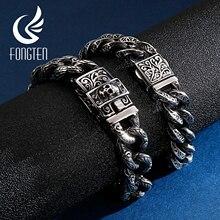 Fongten Vintage Schädel Kubanischen Manschette Armband Edelstahl Benutzerdefinierte Charme Curb Link Kette Männer Armbänder