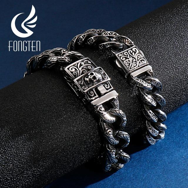 Fongten Vintage Skull Cuban Cuff Bracelet Stainless Steel Custom Charms Curb Link Chain Men Bracelets